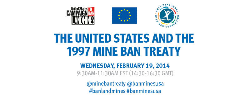 Flyer for the February 19 symposium on U.S. landmine policy.