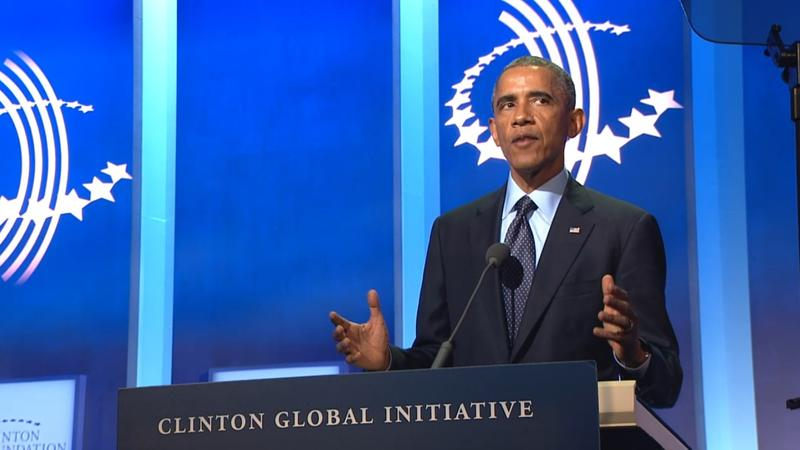 President Barack Obama announces a new landmine policy during his speech at the Clinton Global Initiative Annual Meeting on September 23, 2014.